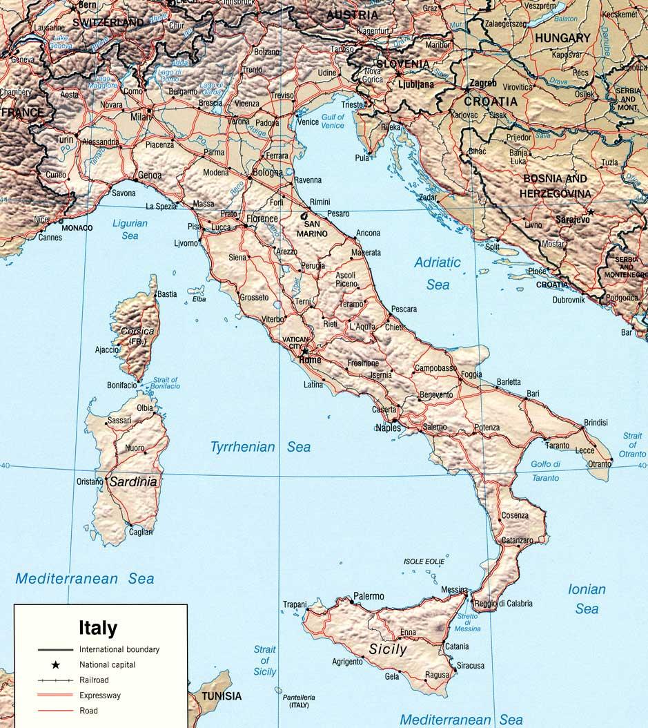 Карта италии нажмите для увеличения